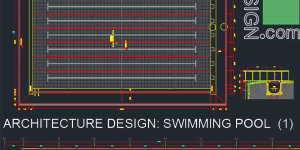 Sport complex : Swimming pool architecture design (Autocad drawings) collection