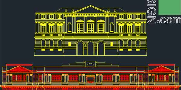 Classical architecture style façades – AutoCad collection 1