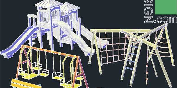 AutoCad 3D blocks for landscape, park and playground design