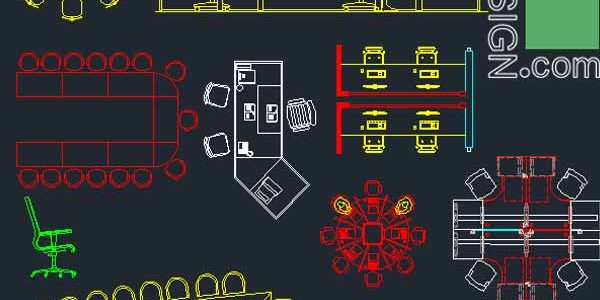 Office furniture symbols and layouts collection, AutoCad DWG file