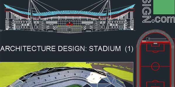 Sport complex: Stadium architecture design (Autocad drawings) collection
