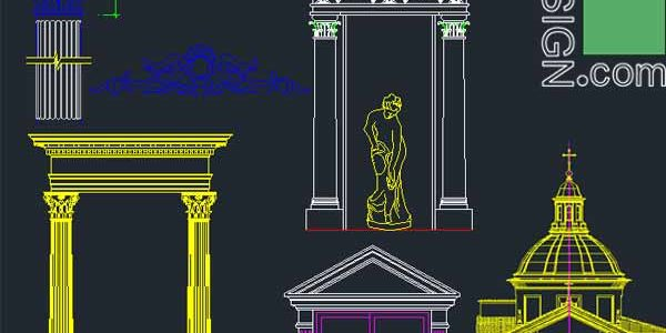 500 classical architecture facades elements for Autocad (DWG file)