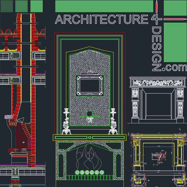 fireplace design samples for Autocad
