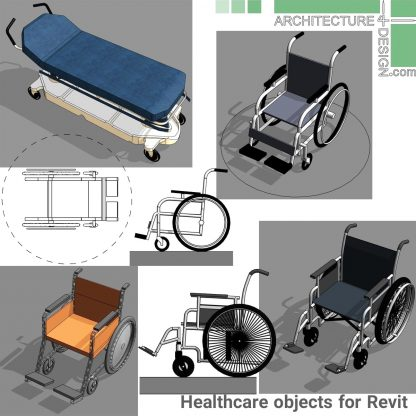 Wheelchair and hospital bed families for Revit