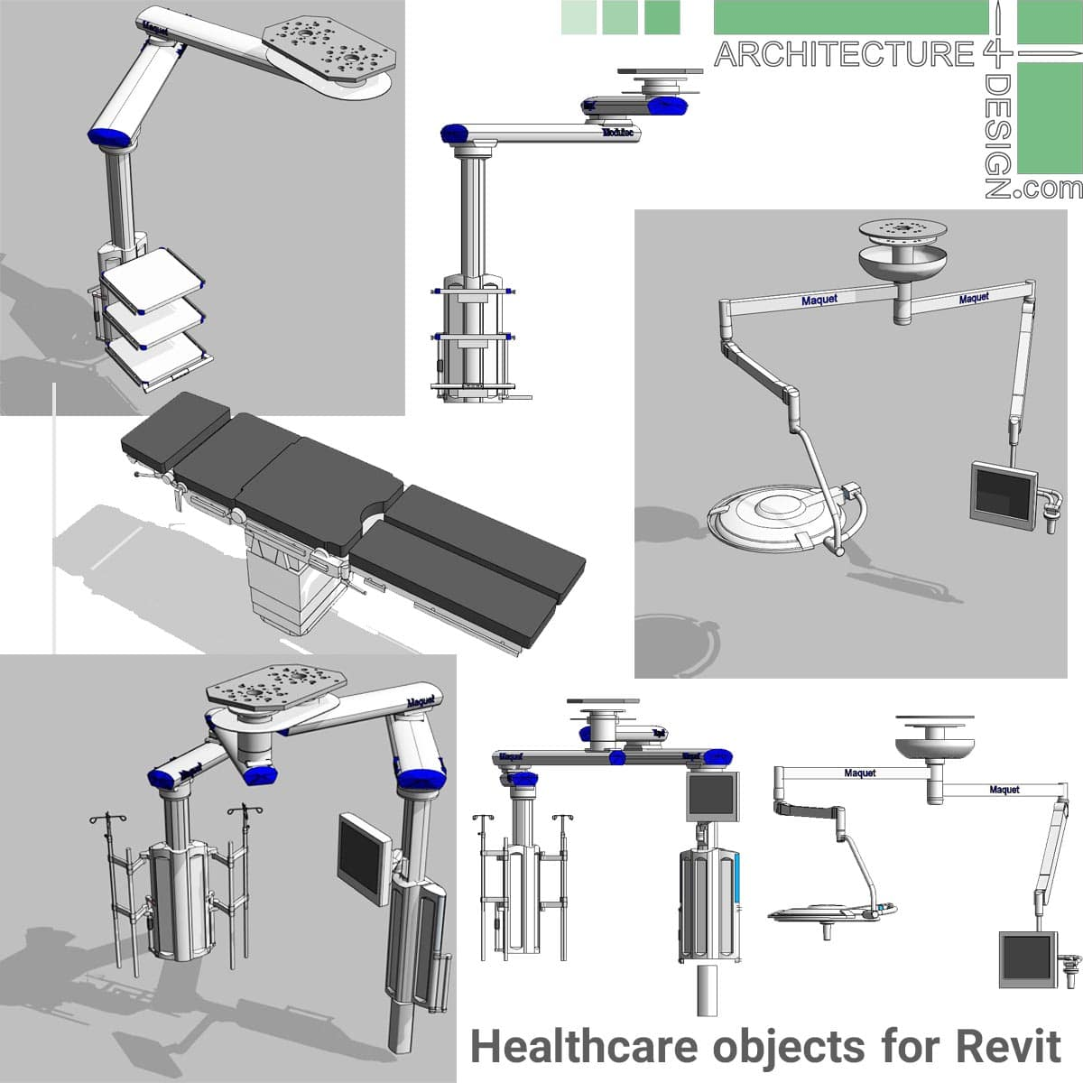 Revit families for hospital design