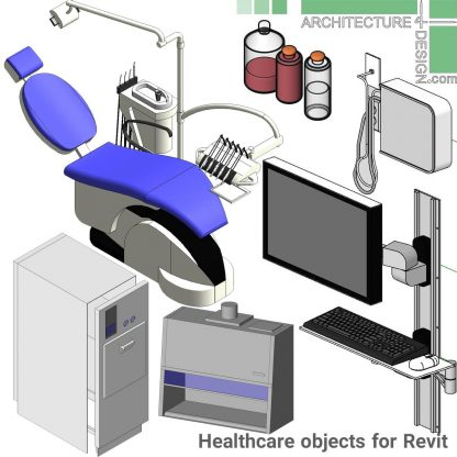 hospital and dental offiice furniture families for revit
