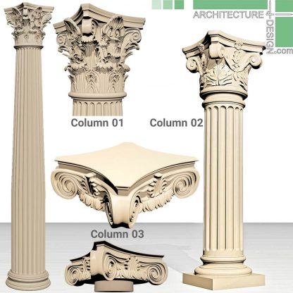3ِD model of Corinthian and Ionic columns for 3ds Max