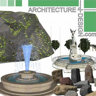 Fountain, rock and stone sketchUp models for landscape design