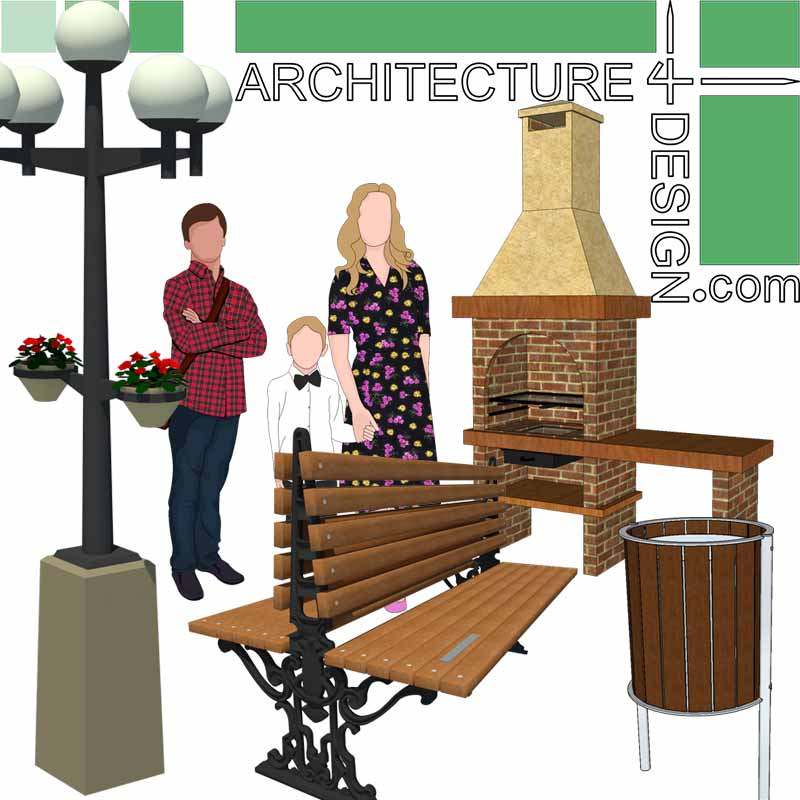 site furnishing SketchUp 3D models