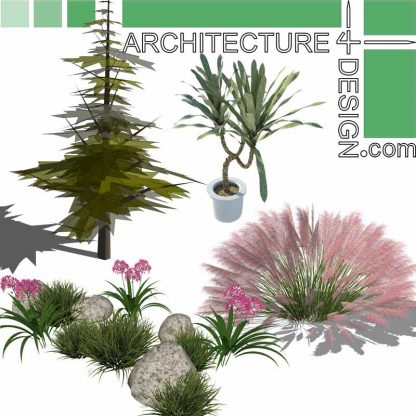 SketchUp 3D models of trees, shrubs and flowering plants