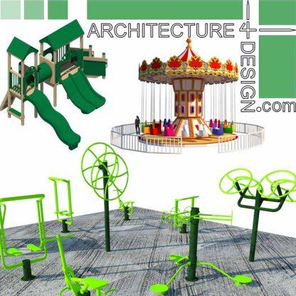 Amusement park rides and playground equipment, SketchUp 3D symbols