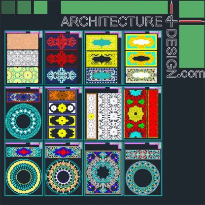 Arabesque patterns Autocad drawings
