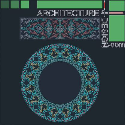 Arabesque round pattern DWG