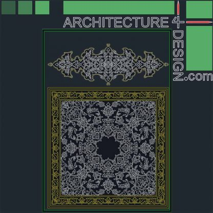Square arabesque pattern DWG