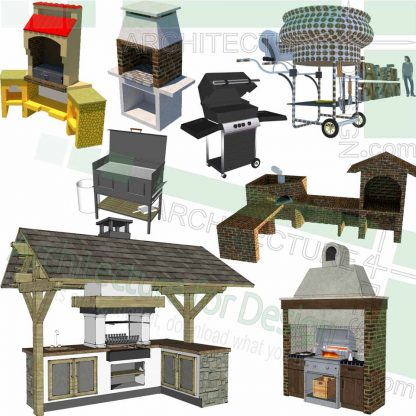 Barbecue 3D designs in Sketchup