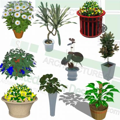 flower pots SketchUp models