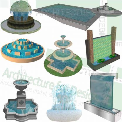 Fountain SketchUp models for landscape design