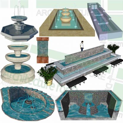 Fountain 3D models for sketchup
