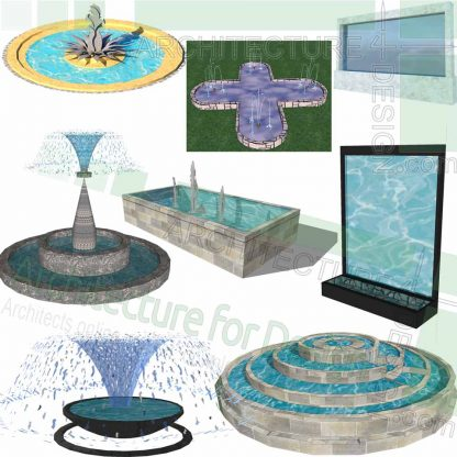 3D fountain models for SketchUp