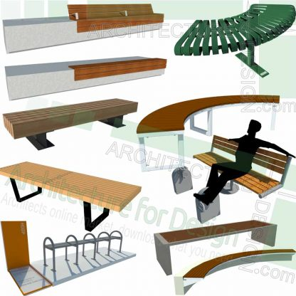 bench and outdoor furniture SketchUp models