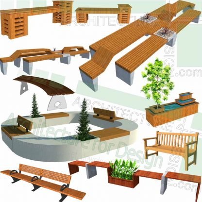 planter bench and outdoor furniture SketchUp models