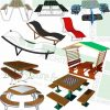 table and benches and outdoor-chaise-lounge SketchUp models