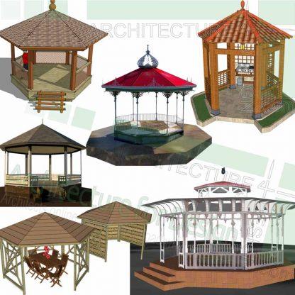 Gazebo design 3D models in Sketchup