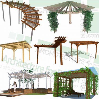 Pergola designs, SketchUp 3D models