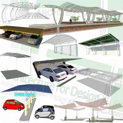 Car shelter 3D designs in SketchUp
