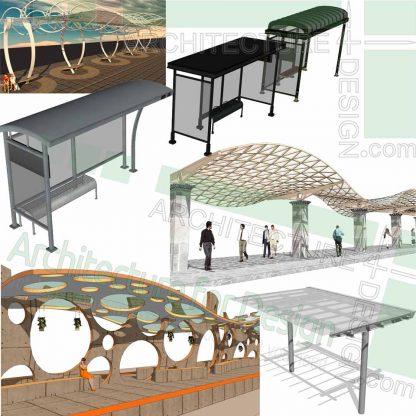 Bus shelter Sketchup 3D models