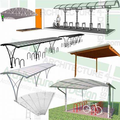 Bicycle shelter SketchUp 3D models