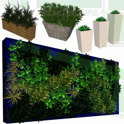 Greenwall and planter SketchUp models