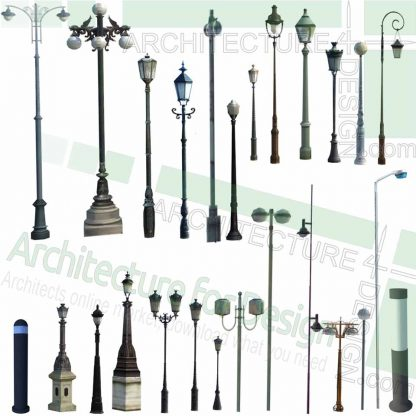 light pole, pathway light and light post SketchUp models