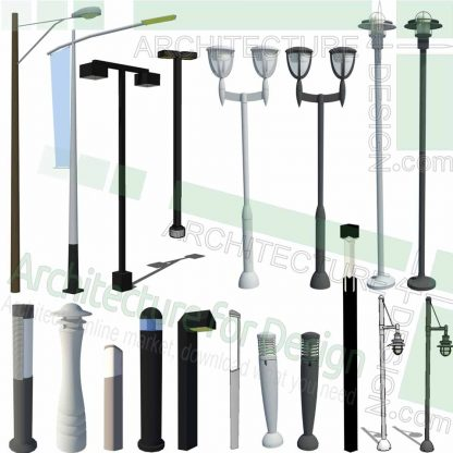 pathway light, light pole and light post SketchUp models