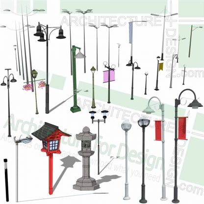 light pole and light post SketchUp models