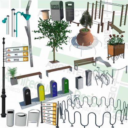 Sketchup models of bicycle parking and sign posts