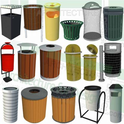 outdoor trash can SketchUp models