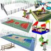 Playground basketball court SketchUp 3D model