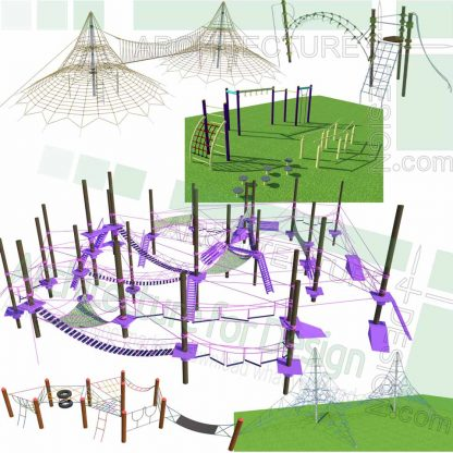 playground cable climbing net sketchup models