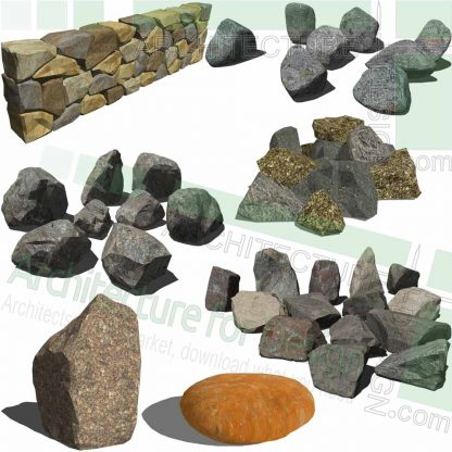Rock and stone scetchup models for landscape design