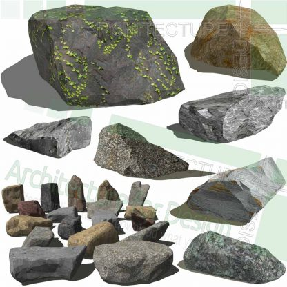Stone and rock SketchUp 3D models for landscape design