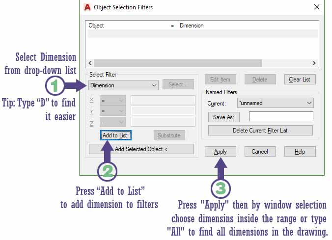 How to select all dimensions in Autocad with filters