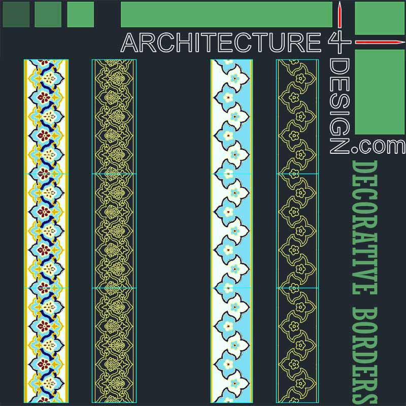 Decorative Border Designs For Tiling And Flooring (Autocad
